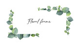 Watercolor vector wreath with green eucalyptus leaves and branches. - 189131441