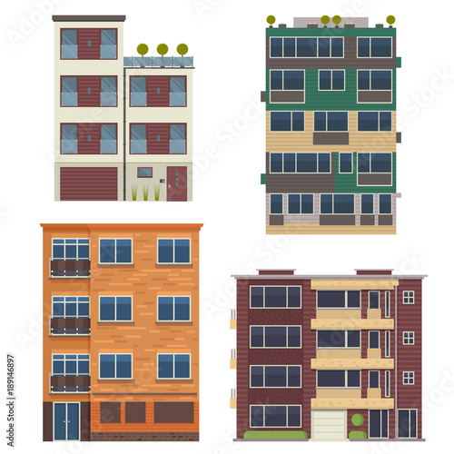 Modern block city apartment buildings for town constructor or real estate agency. Minimalist multistory living houses with balconies vector illustration in flat design. Bauhaus urban homes set. © krugli