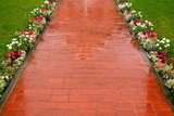 Beautiful pavement of red and brown clinker brick. Walking path - 189147419