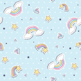Baby seamless pattern with  rainbow. Vector illustration.