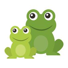 Frog Cute Animal Sitting Cartoon  Illustration Sticker