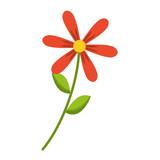flower stem leaves nature petals decoration vector illustration