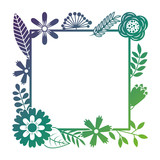 frame from wild flowers greeting card template design vector illustration - 189160814