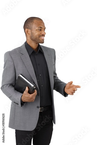 Black businessman isolated on white