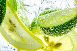 Lemon drop in fizzy sparkling water, juice refreshment