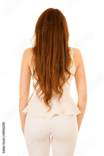 In de dag Kapsalon Back photography of a woman with long hair