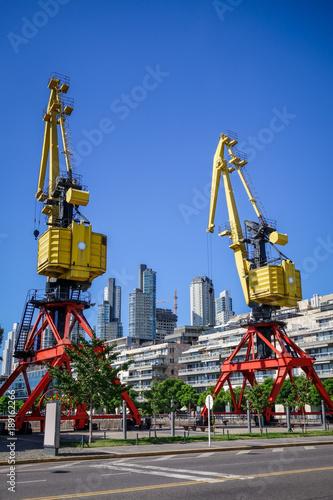 Fotobehang Buenos Aires Construction crane, Puerto Madero, Buenos Aires