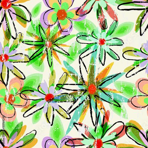 Fotobehang Abstract met Penseelstreken seamless abstract flower background, springtime pattern,grunge style vector