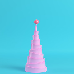 Abstract pyramid with sphere on the top on bright blue background
