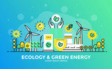 Flat Line Modern Concept Illustration - Ecology and Green Energy - 189168482