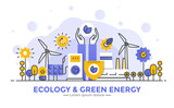 Flat Line Modern Concept Illustration - Ecology and Green Energy - 189169213