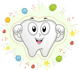 Tooth Mascot Shield Bacteria Cavities Illustration - 189170258