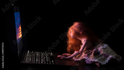 Girl and laptop
