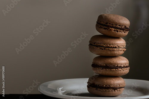Aluminium Macarons French biscuits macarons with coffee