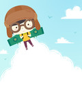 Kid Boy Aviator Plane Wings Background Illustration