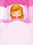 Kid Girl Princess Sleep Bed Background Illustration