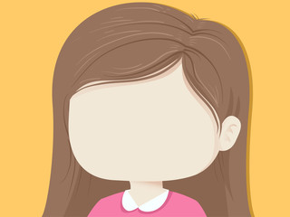 Kid Girl Blank Face Background Illustration