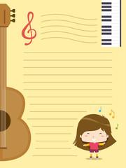 Kid Girl Music Club Paper Background Illustration