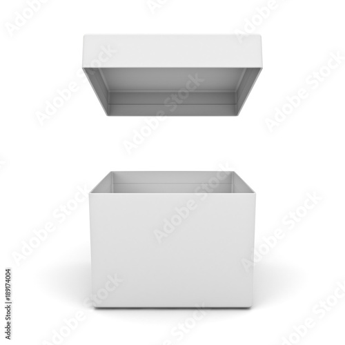 Blank box open with lid isolated on white background with shadow . 3D rendering.