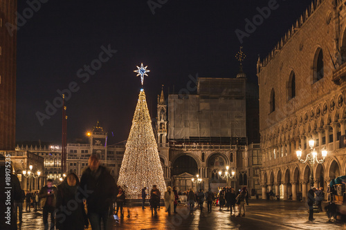 VENICE, ITALY - JANUARY 02 2018: night view of the Christmas Tree in San Marco Square