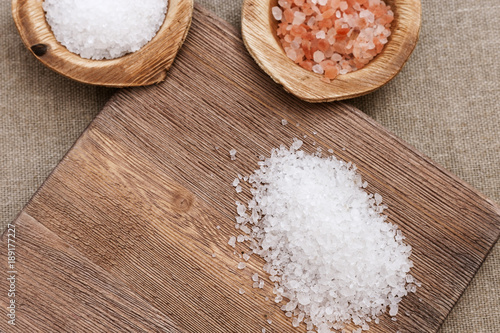 Tuinposter Spa Spa concept. Aromatic sea salt for cosmetic procedures. Sea salt and vintage wooden desk. Copy space. Background for spa.