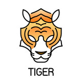 Tiger minimalism head face line icon style for logo and mascot, Editable Stroke, vector illustration