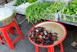 Cambodia, crabs in street market in Phnom Penh