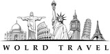 travel destinations-famous placesNYC, London Big Ben, Rome-Coliseum, Paris-Eiffel Tower, Rio de Janeiro-Jesus Statue, NYC-Statue of liberty