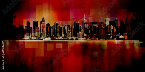 Manhattan. Modern art. New York cityscape