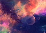 Colorful space star nebula and planets in Space Background. Digital painting.