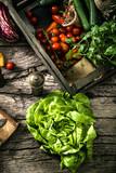 Organic vegetables on wood - 189188645