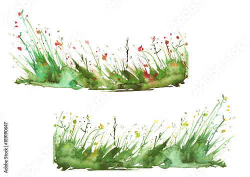 Watercolor set is spotted, blots, wild grass, plants. Art illustration. summer landscape of the earth is green, yellow, brown and orange. Splash of paint.