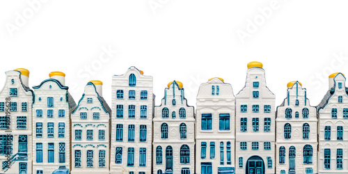 Foto op Canvas Amsterdam Rows of porcelain Amsterdam canal houses