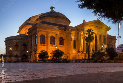 Aluminium Palermo Massimo theater Palermo at twilight