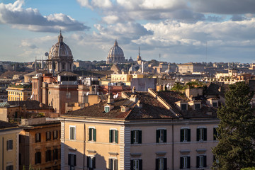 Panorama view of Rome with St Peter Cathedral