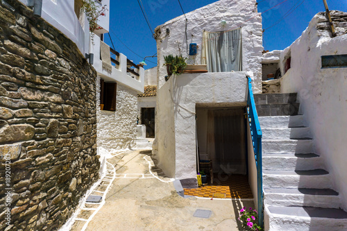 Street view of the mainland (Chora) in Kythnos island in Greece