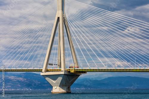 Deurstickers Rio de Janeiro View of suspension bridge Rio-Antirio in Greece
