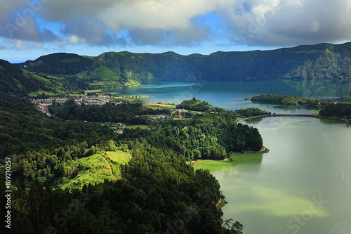 Keuken foto achterwand Nachtblauw Aerial view to Azul and Verde lakes at Sete Cidades in Sao Miguel Azores Portugal