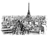 Eiffel tower, Paris, France. Hand drawn vector illustration.