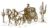Western Scenery  Old Wagon Wall Sticker