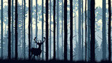 Horizontal illustration of deer in pinewood forest.
