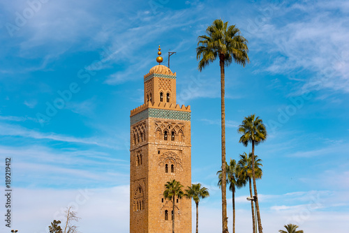 Poster Marokko Amazing view of Koutoubia Mosque in Marrakech in Morocco
