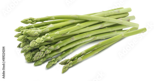 Green asparagus horizontal bunch isolated on white background