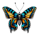 Beautiful tattoo for your chest. Blue Machaon butterfly. Tropical realistic butterfly with shadow. Female symbol