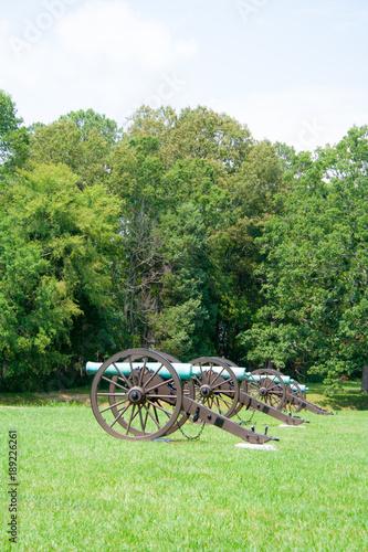 Fotobehang Fiets Cannons on battlefield