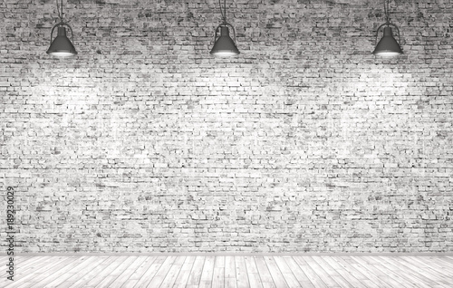 Brick wall, wooden floor and lamps  background 3d render