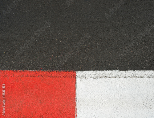Fotobehang Formule 1 Texture of motor race asphalt and curb Grand Prix circuit
