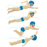 Set with athlete man swimming in different stroke styles training - 189232208