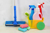 A cleaning kit with tools and products at home. - 189233853