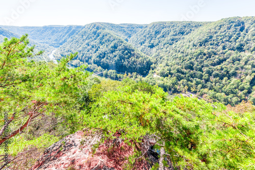 Fotobehang Lime groen Overlook of West Virginia green mountains in spring, summer or autumn fall at New River Gorge Bridge